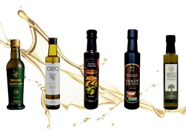 Alguns dos azeites nacionais para provar já, da esquerda para direita: Serra dos Garcias; Oliq; Prosperato; Verde Oliva; Borriello (Foto: Divulgação)