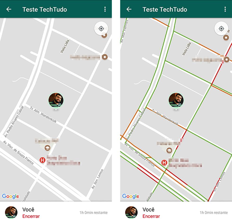 Explore também as opções Terreno e Trânsito no compartilhamento de localização do WhatsApp (Foto: Reprodução/Paulo Alves)