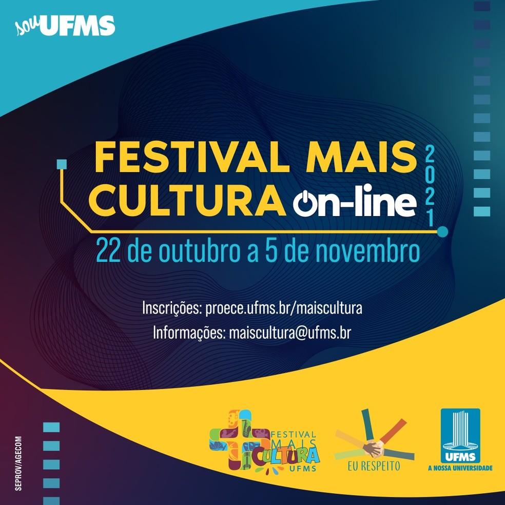 Festival Mais Cultura 2021 acontece de forma inédita, com atrações on-line e presenciais. — Foto: UFMS/Divulgação