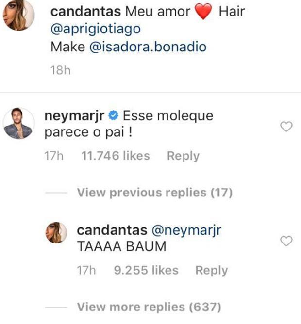 Neymar comenta post de Carol Dantas (Foto: Reprodução)