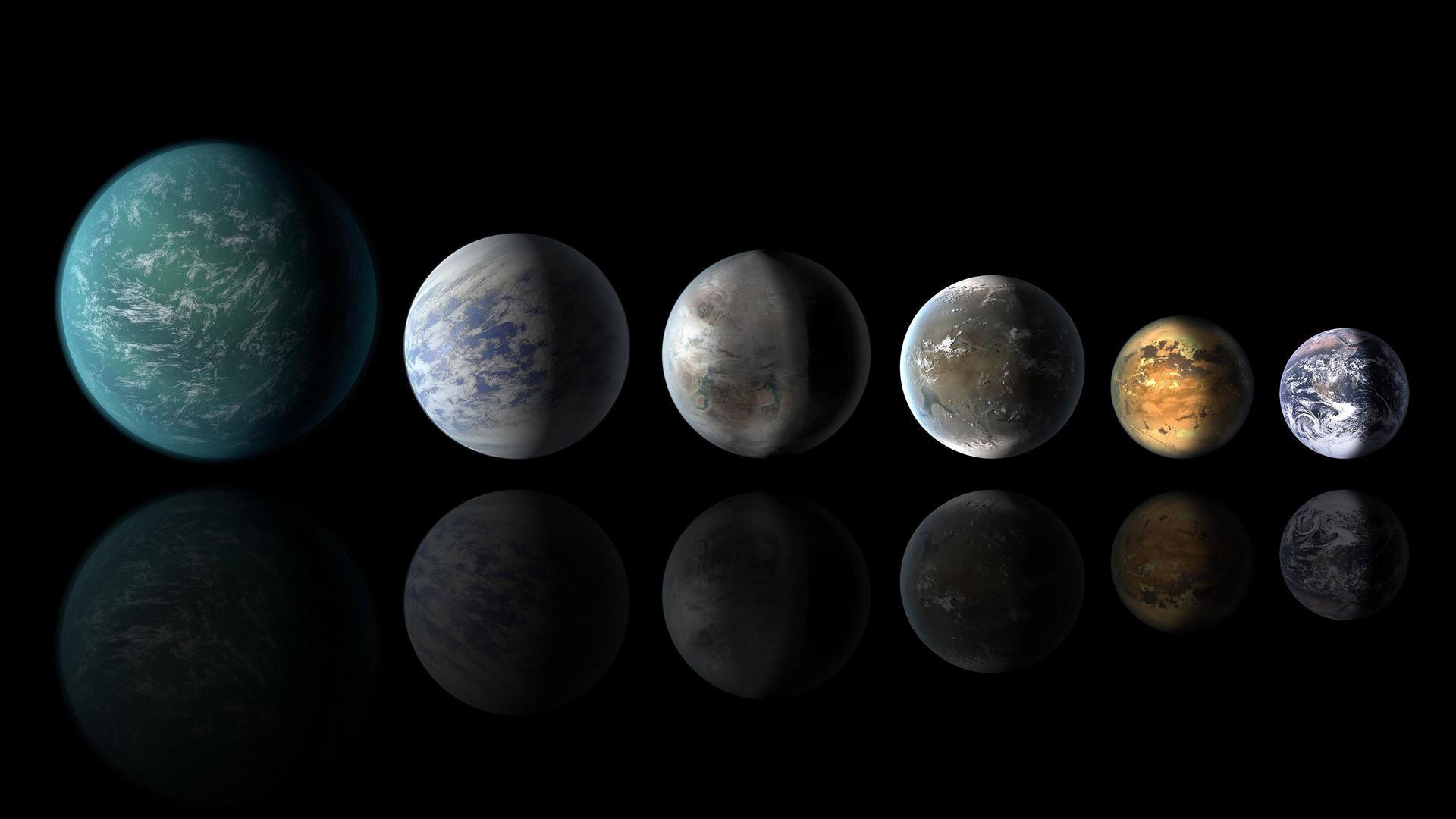 Concepção artística de uma formação planetária mostra planetas da zona habitável com semelhanças com a Terra: da esquerda, Kepler-22b, Kepler-69c, Kepler-452b, Kepler-62f e Kepler-186f. O último da fila é a própria Terra. (Foto: NASA)