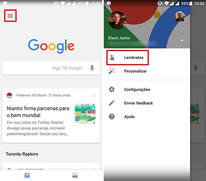 Toque na guia lembretes do Google App para criar avisos (Foto: Reprodução/Elson de Souza)