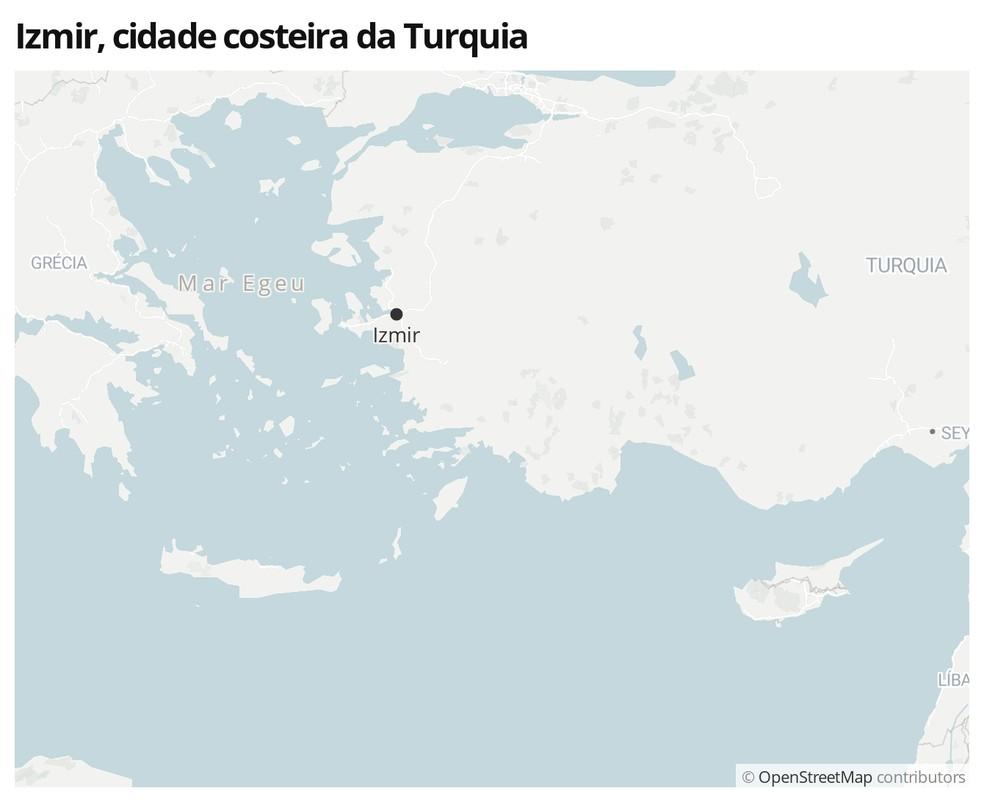 Mapa mostra a localização de Izmir, na Turquia — Foto:  G1