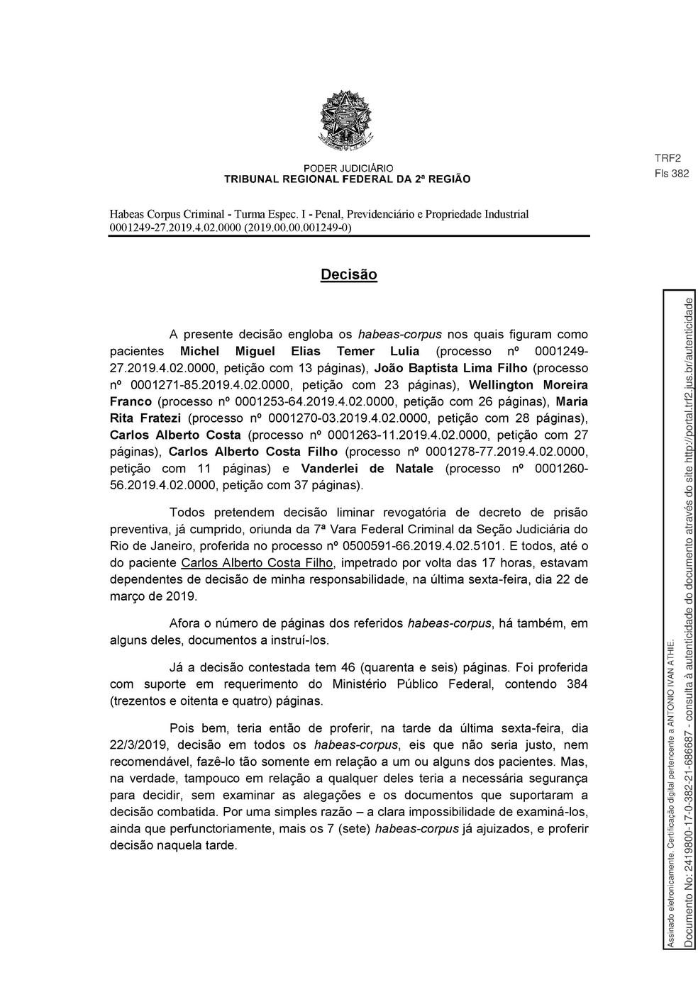 Decisão TRF 2 - pg 1 — Foto: Reprodução