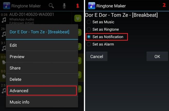 Definição de música como toque de notificação no Ringtone Maker (Foto: Reprodução/Raquel Freire)