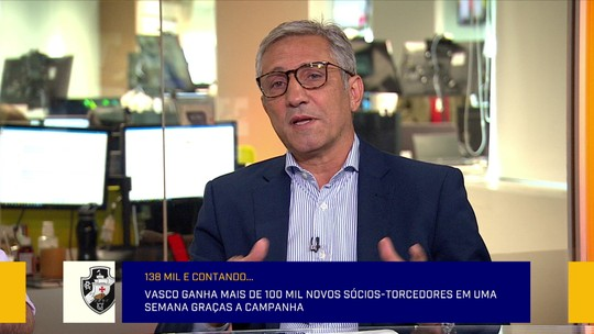 Campello visita o Redação SporTV e resume fenômeno de associação do Vasco: ''Não tem limite''