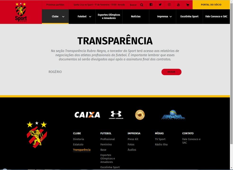 Portal da Transparência está disponível no site oficial do Sport — Foto: Site Oficial do Sport