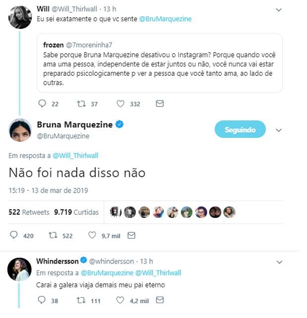 Bruna Marquezine nega ter desativado Instagram após beijos entre Neymar e Anitta (Foto: Reprodução/Twitter)