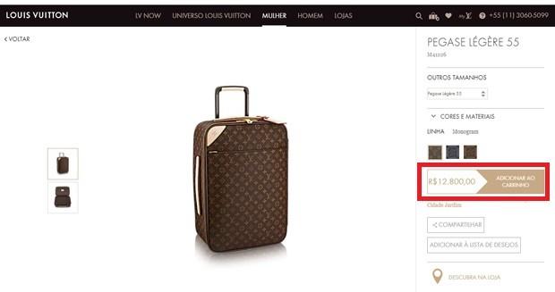 Mala da Louis Vuitton avaliada em quase 13 mil reais (Foto: Reprodução)