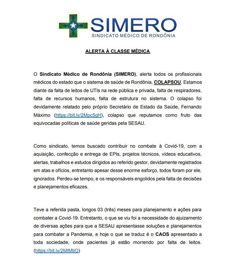 Em nota pública, Sindicato Médico faz alerta a profissionais e critica gestão da crise do coronavírus no estado
