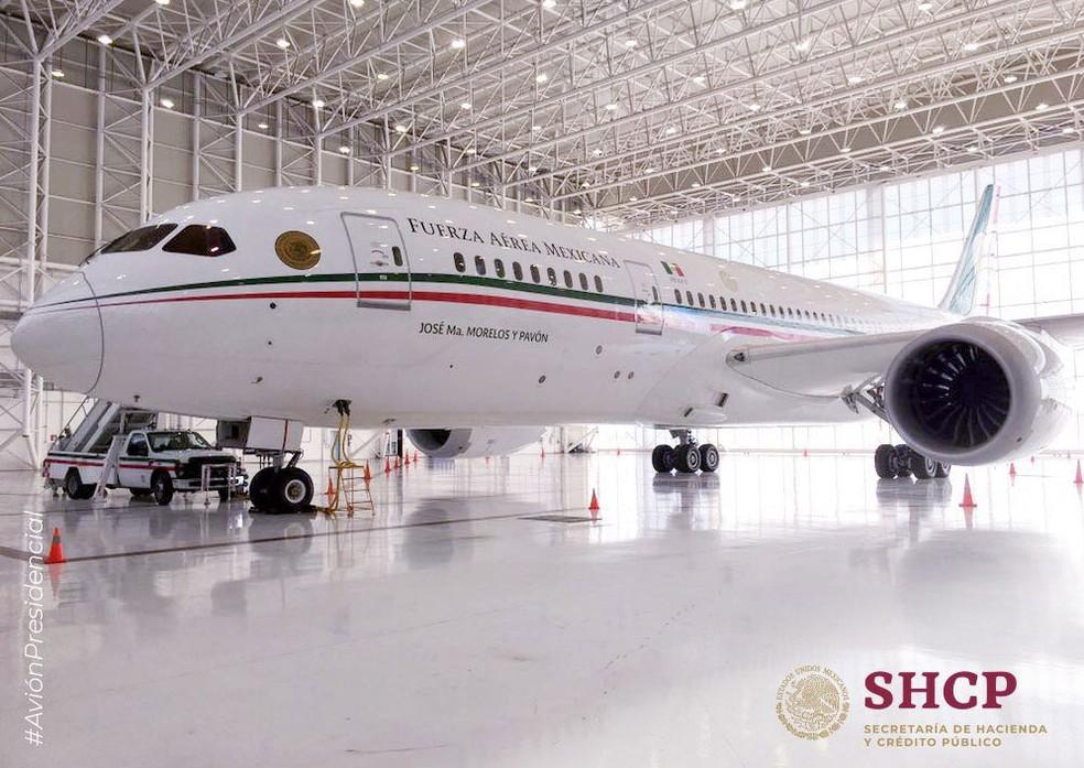 O Boeing 787-8 foi comprado pelo governo mexicano em 2012 — Foto: Reprodução/ Twitter/ SHCP México