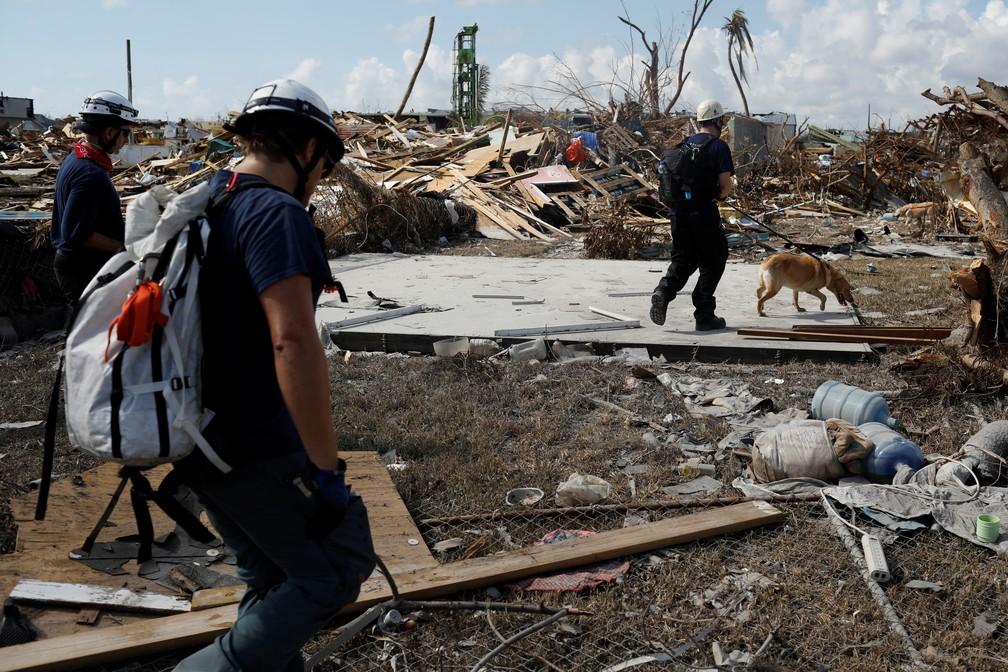 Equipe de bombeiros canadenses procura por corpos de vítimas do Dorian em Marsh Harbour, nas Bahamas, na terça-feira (10). — Foto: Marco Bello / Reuters