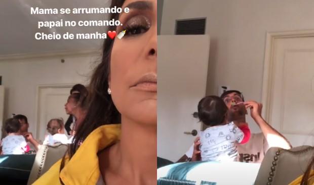 Ivete Sangalo flagra Daniel Cady dando papinha para as gêmeas (Foto: Reprodução/Instagram)