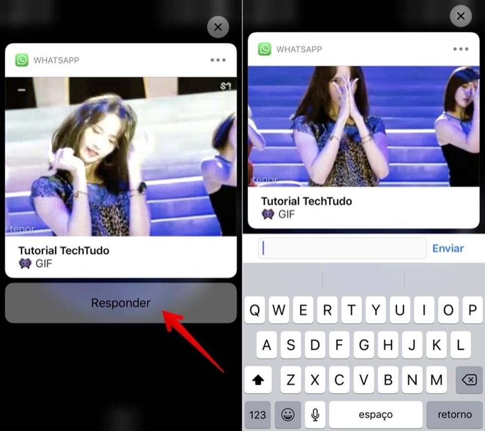 É possível responder à mensagem direito da tela de bloqueio (Foto: Reprodução/Helito Bijora)
