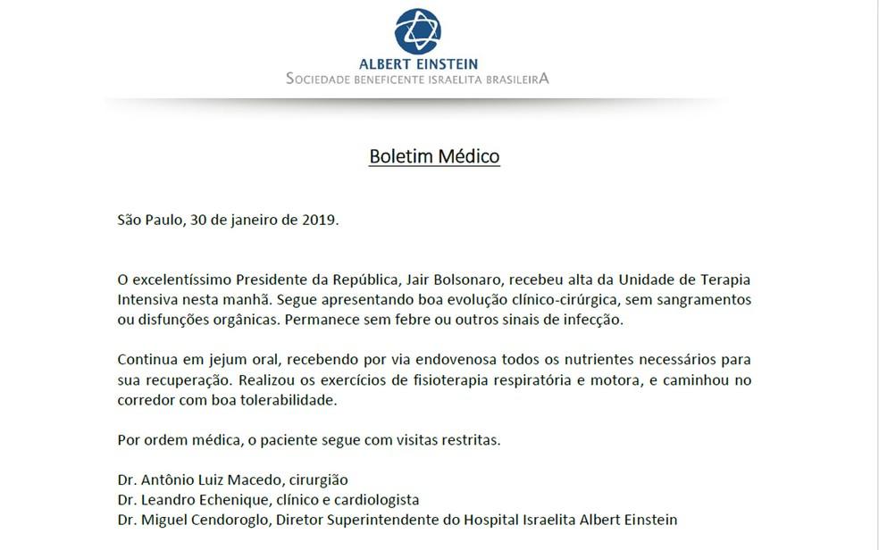 Boletim médico de Jair Bolsonaro divulgado na tarde desta quarta-feira — Foto: Reprodução