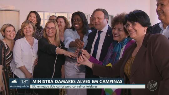 Em visita a Campinas, Damares fala sobre políticas de proteção à mulher; veja vídeo