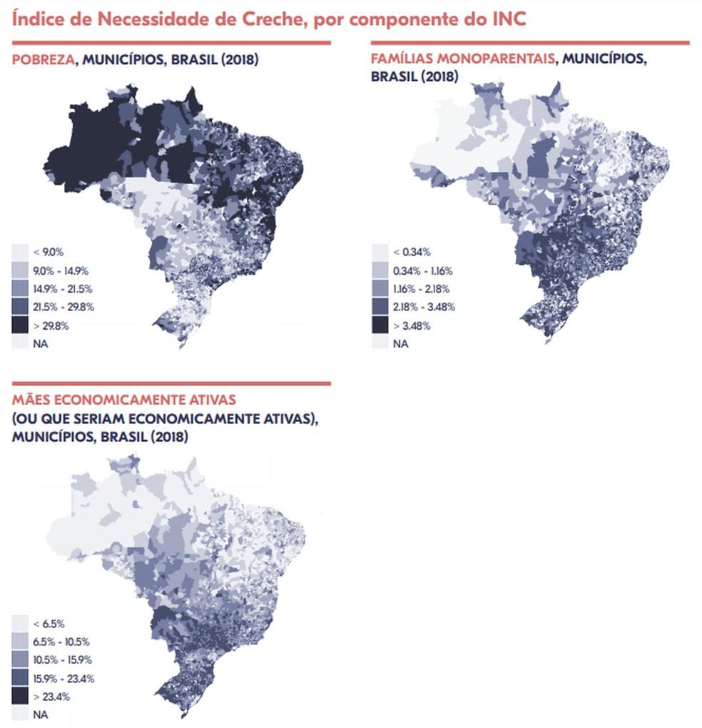 Mapa mostra o efeito de cada categoria na necessidade de creche dos municípios brasileiros  — Foto: Reprodução/Fundação Maria Cecília Souto Vidigal