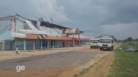 Vendaval destrói cobertura de estádio em cidade do interior do Acre