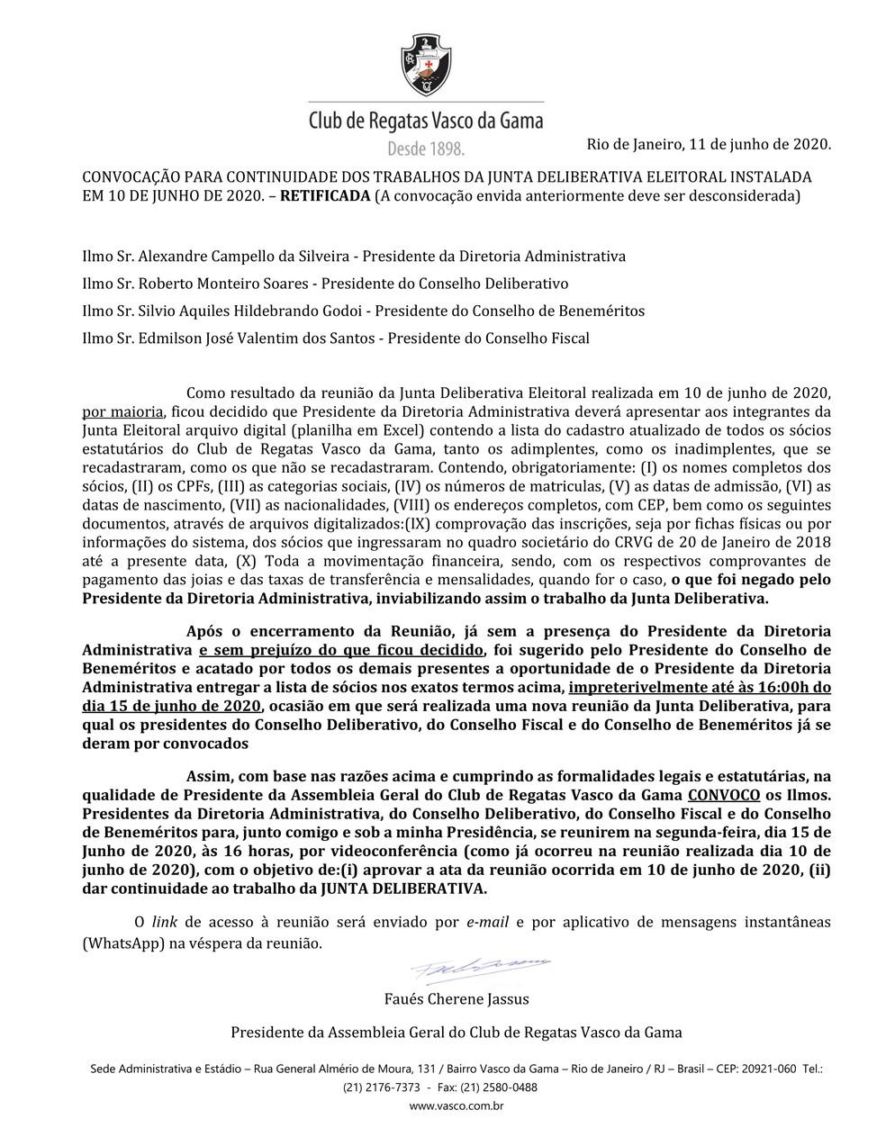 Faués Cherene Jassus, o Mussa, havia convocado reunião da Junta Deliberativa do Vasco para esta segunda-feira — Foto: Reprodução