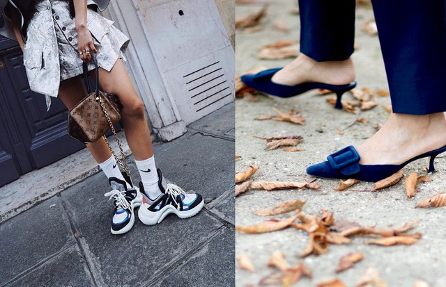 Ugly sneakers e mules no street style. (Foto: Reprodução Instagram/ IMAXTREE)