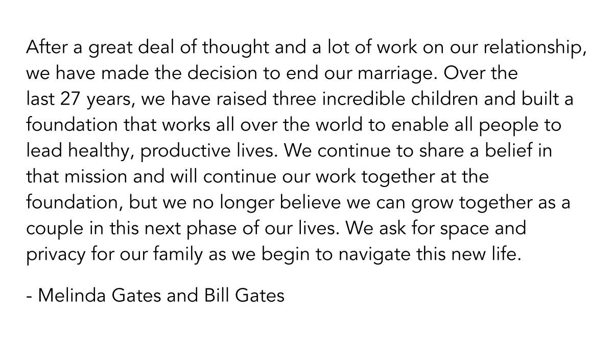 Bill e Melinda Gates anunciam separação (Foto: Reprodução/Twitter)