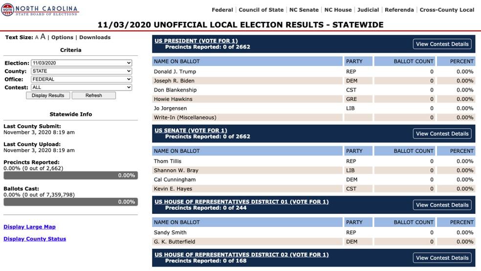 Sites de governos de estados americanos disponibilizam dados da apuração das eleições presidenciais de 2020 — Foto: Reprodução/Paulo Alves