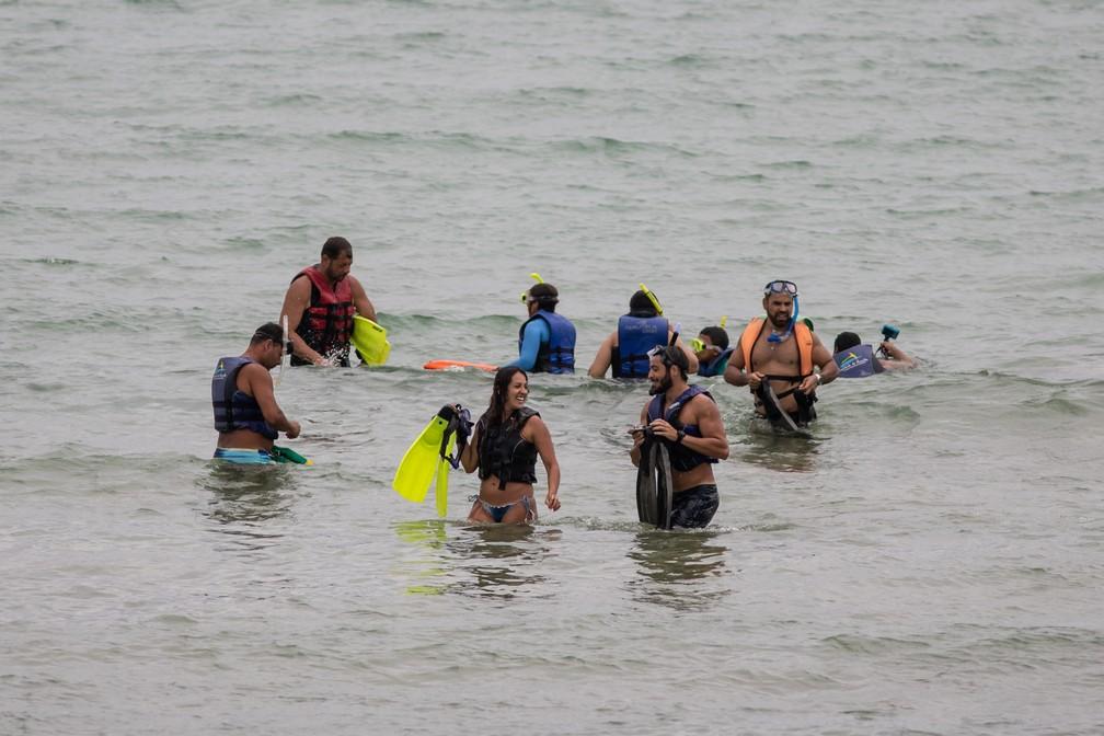 Grupo de turistas pratica snorkel na praia do Sueste em Fernando de Noronha — Foto: Fábio Tito/G1