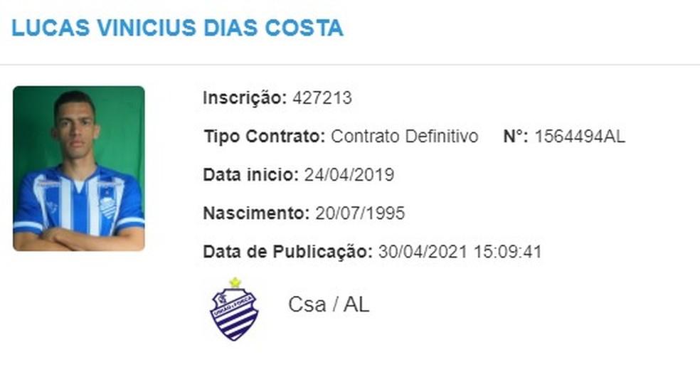 De volta ao CSA, Lucas Dias teve seu nome publicado no BID — Foto: Divulgação/CBF
