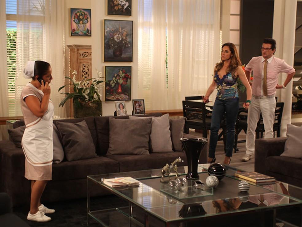 Acusada de roubo, Marilda se revolta e ameaça Tereza Cristina: 'Ouvi muita coisa' — Foto: Globo