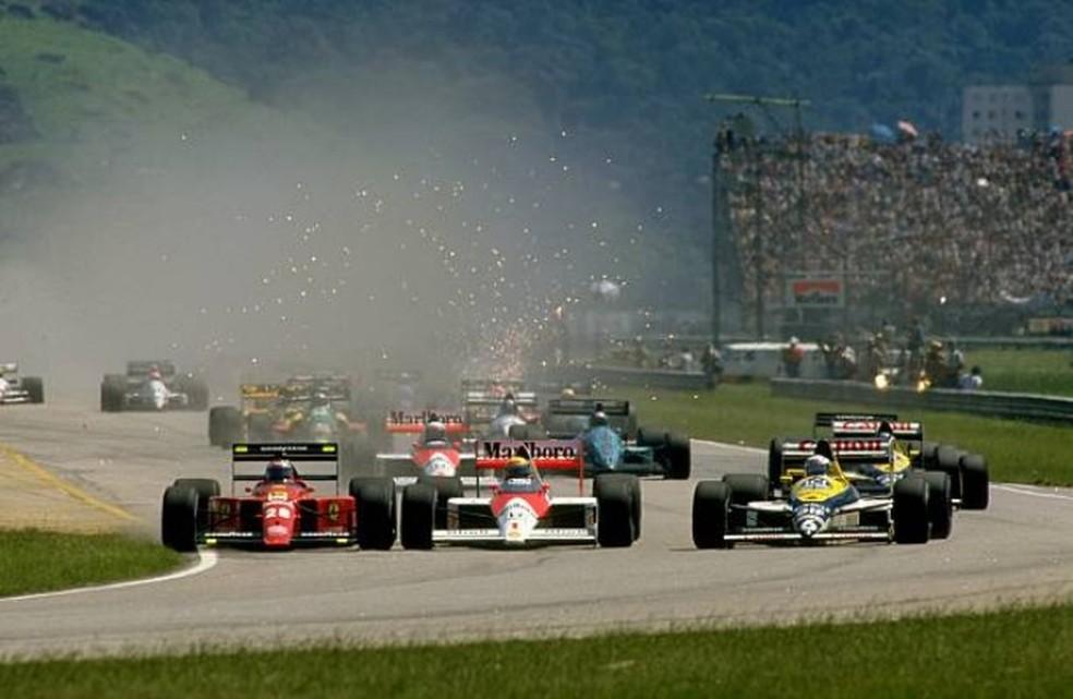 Largada do GP do Brasil de 1989, em Jacarepaguá — Foto: Getty Images