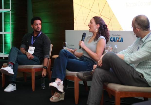André Barrence, diretor do Google for Startups no Brasil, Camila Junqueira, diretora-geral da Endeavor Brasil, e Marcos Coronato, editor-executivo de Época NEGÓCIOS, durante o Festival de Inovação e Cultura Empreendedora (Foto: Alexandre DiPaula/Época NEGÓCIOS)