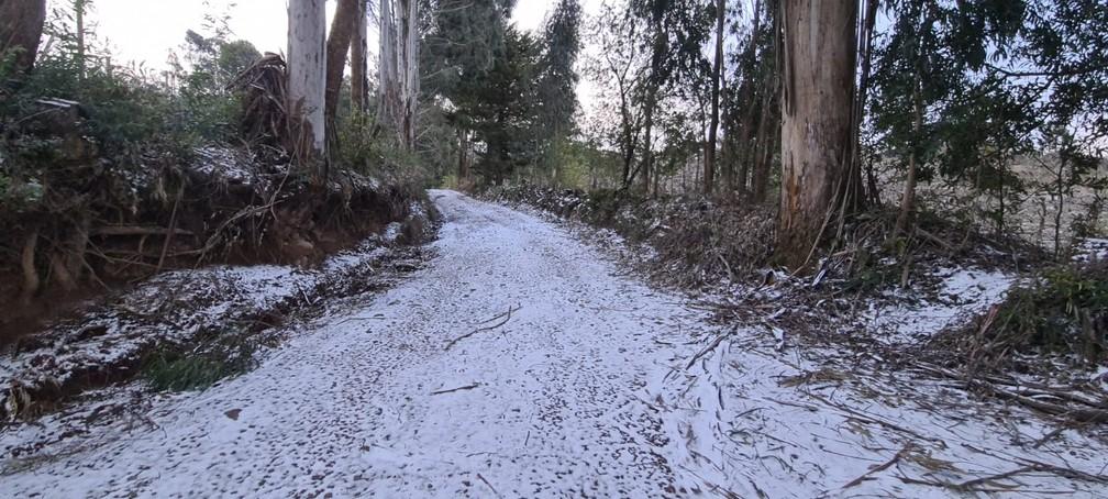 Vale do Caminhos da Neve, na cidade de São Joaquim, nesta quinta-feira (29) — Foto: Mycchel Legnaghi/São Joaquim Online