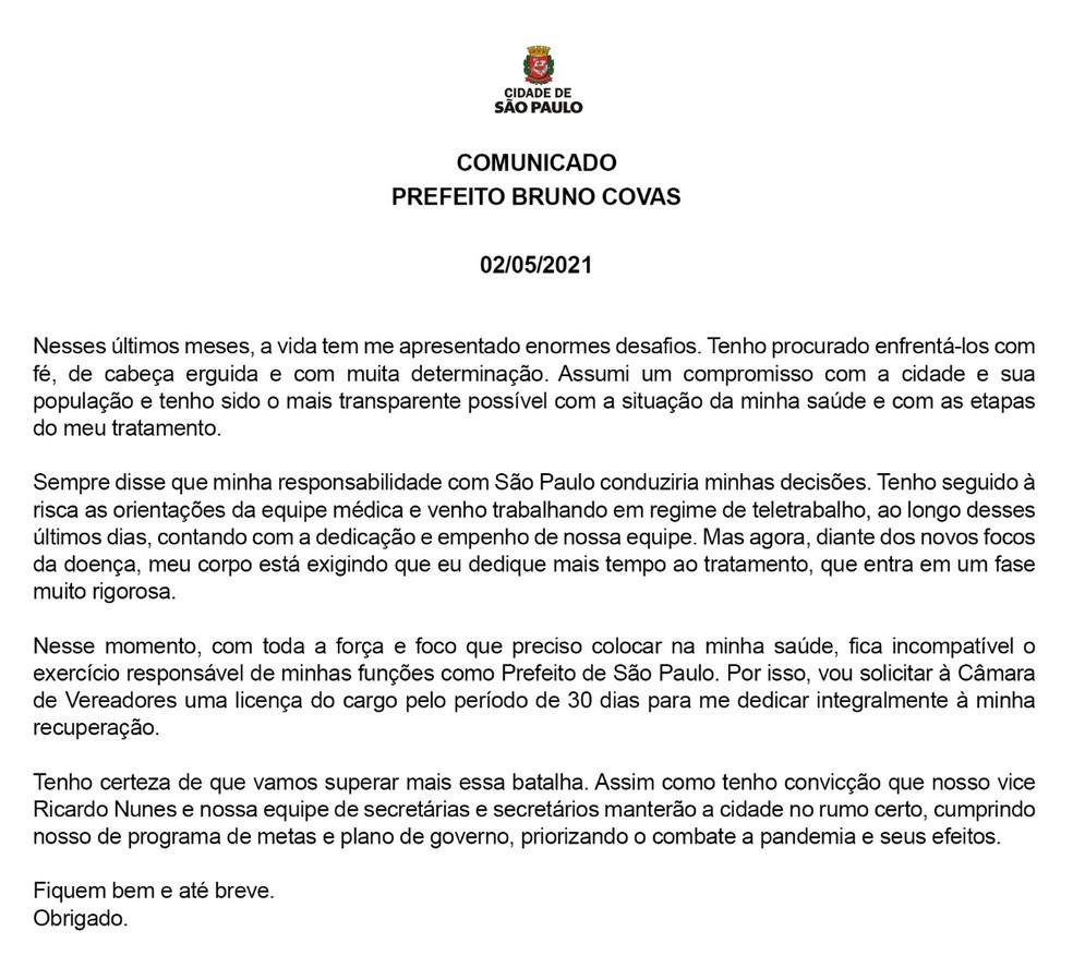 Carta do prefeito Bruno Covas comunicando o pedido de licença por 30 dias. — Foto: Reprodução