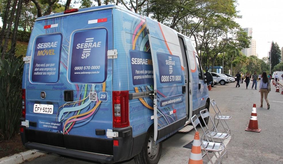 Unidade móvel do Sebrae-SP  (Foto: Ney Sarmento/PMMC)