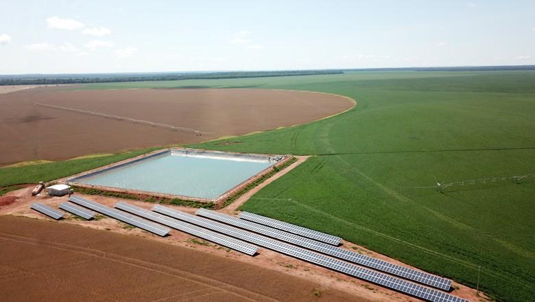 Projeto de energia solar na Fazenda Rincão, Nova Mutum (MT) (Foto: Valdinei Rodrigues de Brito)