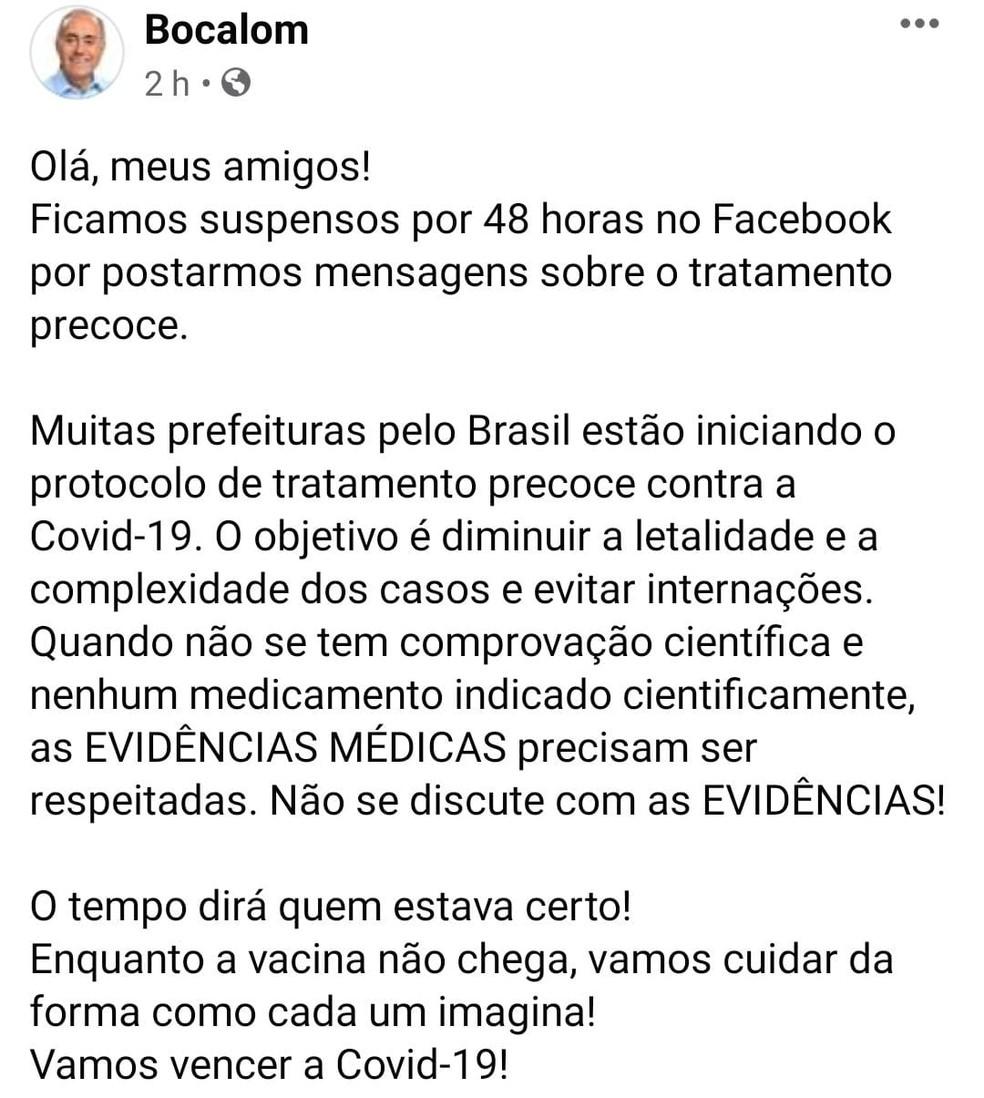 Bocalom chegou a ter página no Facebook suspensa por 48 horas após postagens sobre tratamento precoce — Foto: Reprodução/Facebook