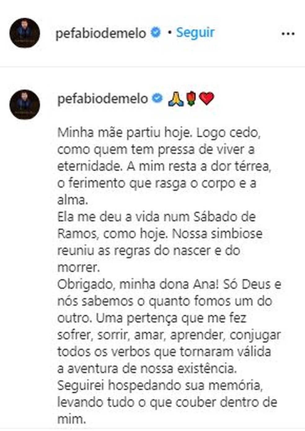 Postagem do padre Fábio de Melo sobre a morte da mãe — Foto: Reprodução/Rede Social
