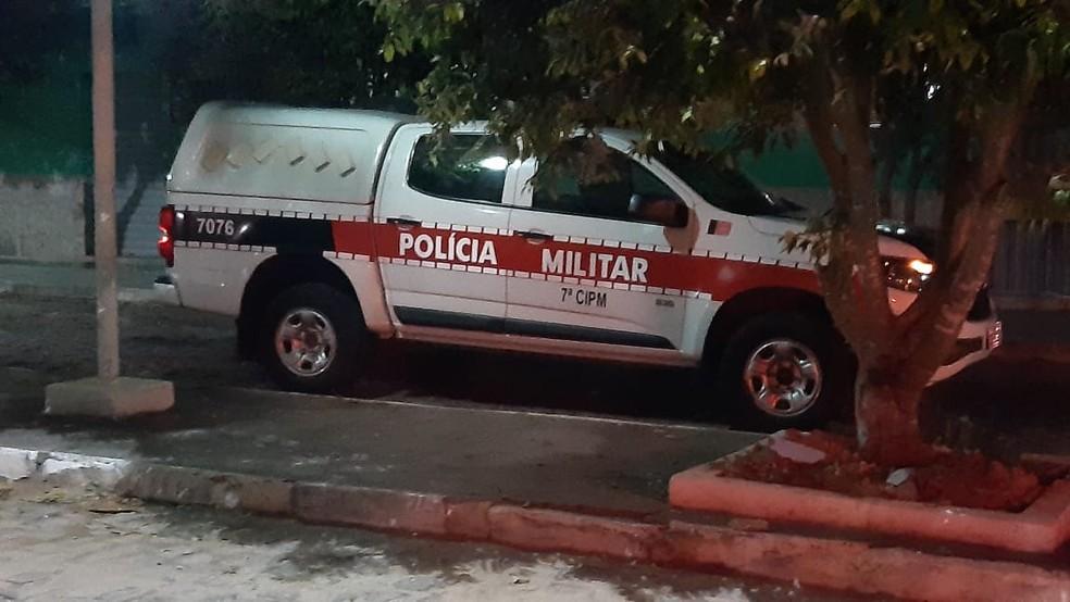 Viatura da Polícia Militar da Paraíba em Pedro Velho, RN — Foto: Sérgio Henrique Santos/Inter TV Cabugi