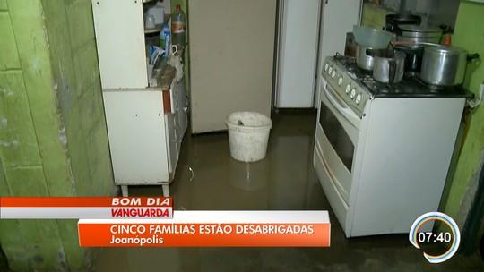 Cinco famílias ficam desabrigadas em Joanópolis após temporal