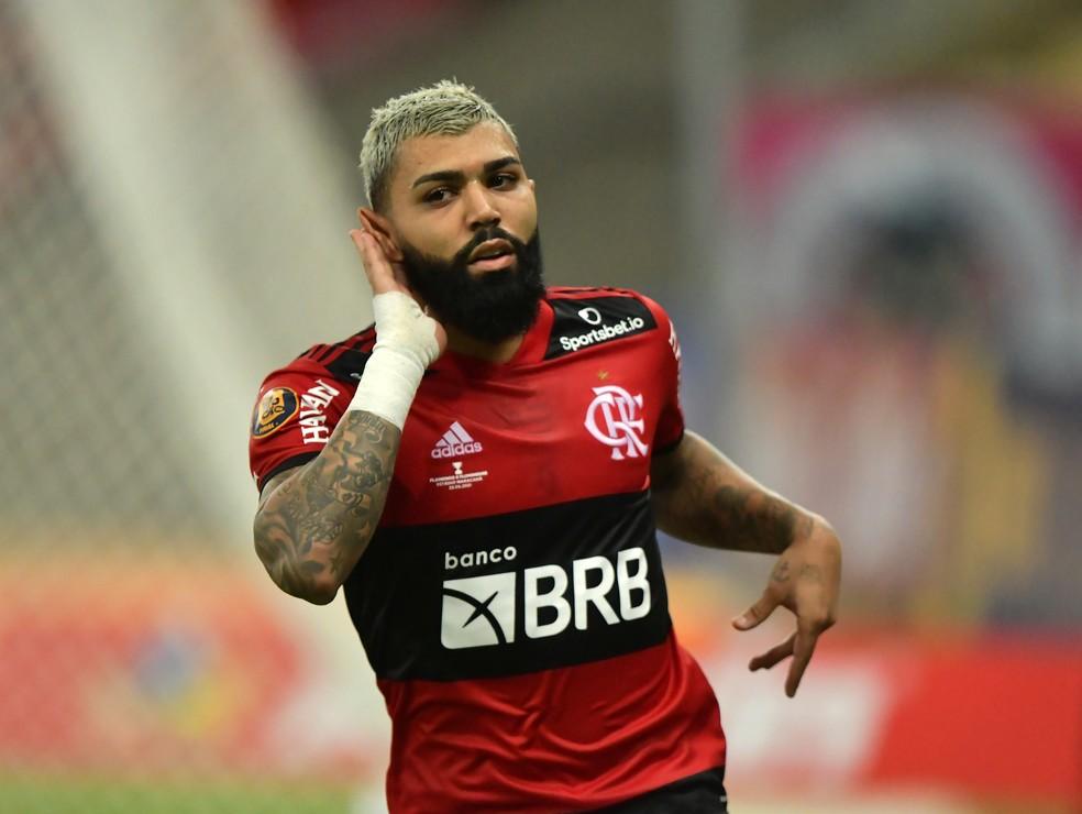 Gabigol, do Flamengo, provoca Fluminense após gol na final do Carioca 2021 — Foto: André Durão