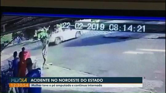 Acidente entre caminhonete e motocicleta deixa uma pessoa em estado grave, em Goioerê; VÍDEO