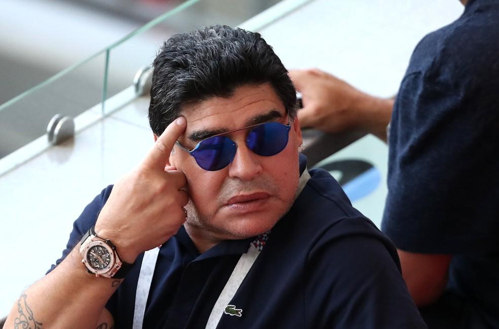 Reação de Maradona após o quarto gol da França (Foto: Catherine Ivill/Getty Images)