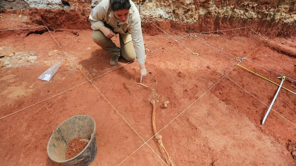 Árqueologa Sônia Cunha mostra ossada encontrada em terreno no Centro de São Paulo — Foto: Marcelo Brandt/G1