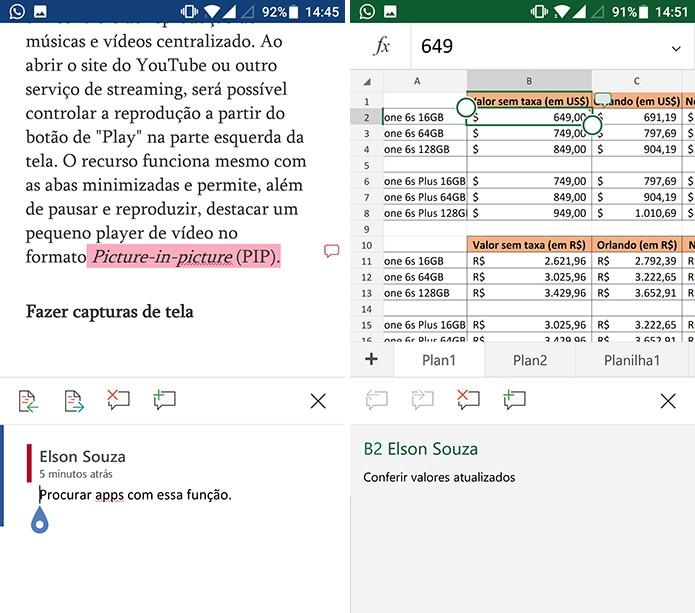 Word e Excel mostram comentários e usuário pode adicionar novas informações (Foto: Reprodução/Elson de Souza)
