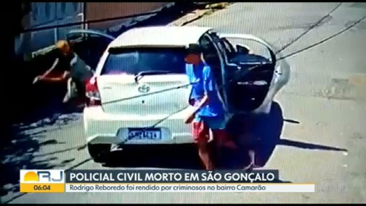Câmera de segurança flagra tentativa de assalto e morte de policial civil e São Gonçalo