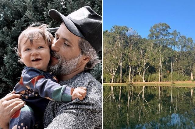 Zyan com Bruno Gagliasso e, à direita, o Rancho D'A Montanha (Foto: Reprodução/Instagram)
