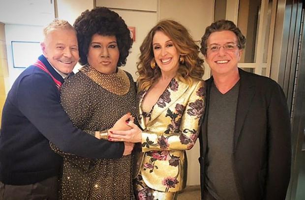 Tiago Abravanel com Miguel Falabella, Claudia Raia e Boninho, jurados do Show dos Famosos (Foto: Reprodução/Instagram)