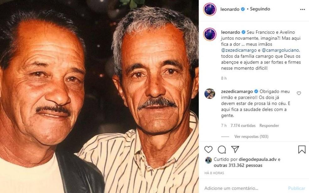 Leonardo posta foto do pai junto com Seu Francisco e lamenta morte: 'Aqui fica a dor' — Foto: Reprodução/Instagram