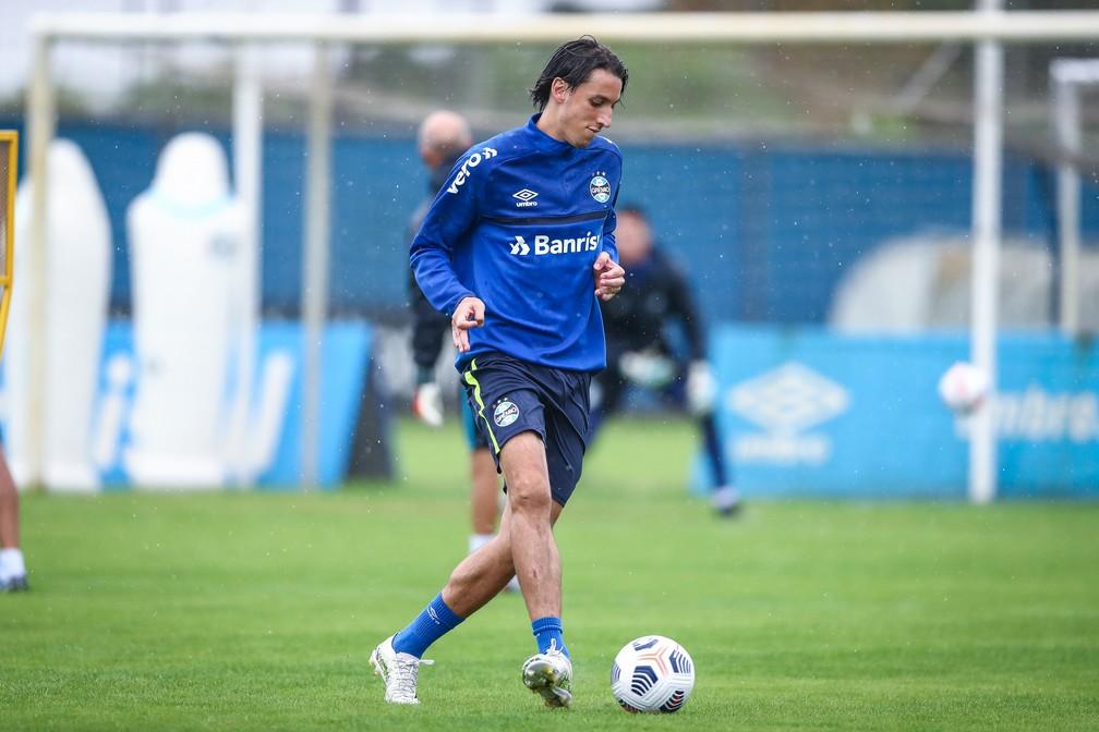 Geromel em treino do Grêmio — Foto: Lucas Uebel/DVG/Grêmio