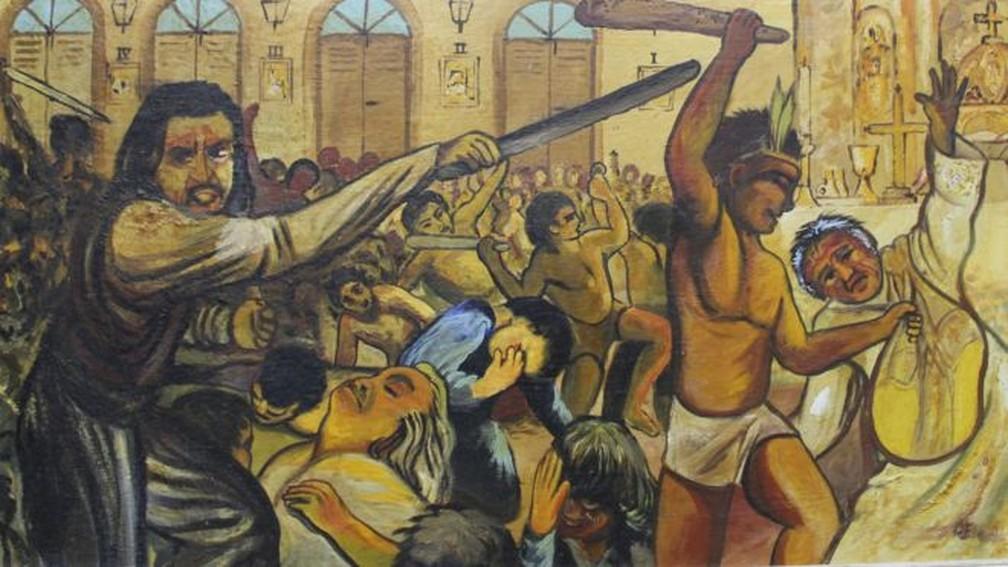 Quadro mostra massacre em Cunhaú, no Rio Grande do Norte. Os mortos identificados serão declarados santos neste domingo | Imagem pintada por Padre Eladio (Foto: BBC/Divulgação)